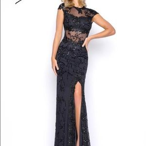 beaded lace prom dress